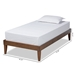 Baxton Studio Lucina Mid-Century Modern Walnut Brown Finished Twin Size Platform Bed Frame - Lucina-Walnut-Twin