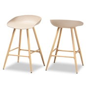Baxton Studio Mairi Modern and Contemporary Beige Plastic and Wood Finished 2-Piece Counter Stool Set