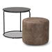 Baxton Studio Kira Modern and Contemporary Black with Grey and Brown 2-Piece Nesting Table and Ottoman Set - 180430-Grey/Black-2PC Set