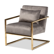 Baxton Studio Mira Glam and Luxe Grey Velvet Fabric Upholstered Gold Finished Metal Lounge Chair Baxton Studio restaurant furniture, hotel furniture, commercial furniture, wholesale living room furniture, wholesale accent chair, classic accent chair