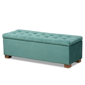 Baxton Studio Roanoke Modern and Contemporary Teal Blue Velvet Fabric Upholstered Grid-Tufted Storage Ottoman Bench