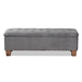 Baxton Studio Hannah Modern and Contemporary Grey Velvet Fabric Upholstered Button-Tufted Storage Ottoman Bench - BBT3136-Grey Velvet/Walnut-Otto