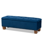 Baxton Studio Hannah Modern and Contemporary Navy Blue Velvet Fabric Upholstered Button-Tufted Storage Ottoman Bench