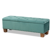 Baxton Studio Hannah Modern and Contemporary Teal Blue Velvet Fabric Upholstered Button-Tufted Storage Ottoman Bench