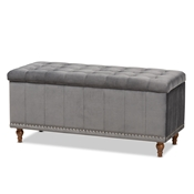 Baxton Studio Kaylee Modern and Contemporary Grey Velvet Fabric Upholstered Button-Tufted Storage Ottoman Bench