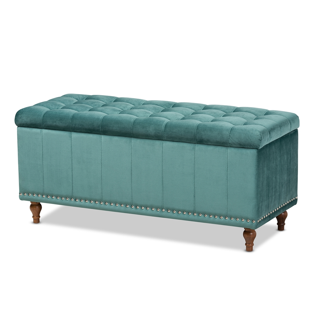 Baxton Studio Kaylee Modern and Contemporary Teal Blue Velvet Fabric Upholstered Button-Tufted Storage Ottoman Bench