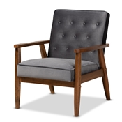 Baxton Studio Sorrento Mid-century Modern Grey Velvet Fabric Upholstered Walnut Finished Wooden Lounge Chair
