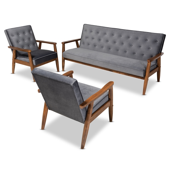 Baxton Studio Sorrento Mid-century Modern Grey Velvet Fabric Upholstered Walnut Finished 3-Piece Wooden Living Room Set