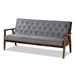 Baxton Studio Sorrento Mid-century Modern Grey Velvet Fabric Upholstered Walnut Finished 3-Piece Wooden Living Room Set - BBT8013-Grey Velvet/Walnut-3PC Set
