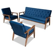 Baxton Studio Sorrento Mid-century Modern Navy Blue Velvet Fabric Upholstered Walnut Finished 3-Piece Wooden Living Room Set