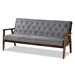 Baxton Studio Sorrento Mid-century Modern Grey Velvet Fabric Upholstered Walnut Finished Wooden 3-seater Sofa