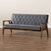 Baxton Studio Sorrento Mid-century Modern Grey Velvet Fabric Upholstered Walnut Finished Wooden 3-seater Sofa - BBT8013-Grey Velvet/Walnut-SF