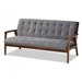 Baxton Studio Asta Mid-Century Modern Grey Velvet Fabric Upholstered Walnut Finished Wood 3-Piece Living Room Set - TOGO-Grey Velvet/Walnut-3PC SF Set
