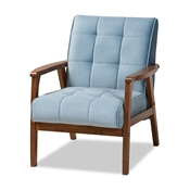 Baxton Studio Asta Mid-Century Modern Light Blue Velvet Fabric Upholstered Walnut Finished Wood Armchair Baxton Studio restaurant furniture, hotel furniture, commercial furniture, wholesale living room furniture, wholesale accent chair, classic accent chair