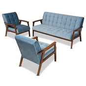 Baxton Studio Asta Mid-Century Modern Light Blue Velvet Fabric Upholstered Walnut Finished Wood 3-Piece Living Room Set