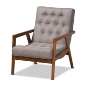 Baxton Studio Naeva Mid-Century Modern Grey Fabric Upholstered Walnut Finished Wood Armchair