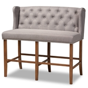 Baxton Studio Alira Modern and Contemporary Grey Fabric Upholstered Walnut Finished Wood Button Tufted Bar Stool Bench