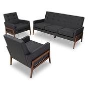 Baxton Studio Perris Mid-Century Modern Dark Grey Fabric Upholstered Walnut Finished Wood 3-Piece Living Room Set