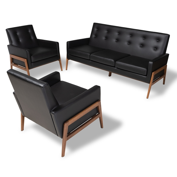 Baxton Studio Perris Mid-Century Modern Black Faux Leather Upholstered Walnut Finished Wood 3-Piece Living Room Set