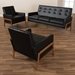 Baxton Studio Perris Mid-Century Modern Black Faux Leather Upholstered Walnut Finished Wood 3-Piece Living Room Set - BBT8042-Black/Walnut-3PC Set