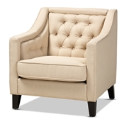 Baxton Studio Vienna Classic Retro Modern Contemporary Beige Fabric Upholstered Button-tufted Armchair Baxton Studio restaurant furniture, hotel furniture, commercial furniture, wholesale living room furniture, wholesale accent chairs, classic accent chairs