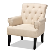 Baxton Studio Barret Modern and Contemporary Beige Linen Fabric Upholstered Rolled-Arm Button-tufted Accent Armchair Baxton Studio restaurant furniture, hotel furniture, commercial furniture, wholesale living room furniture, wholesale accent chairs, classic accent chairs