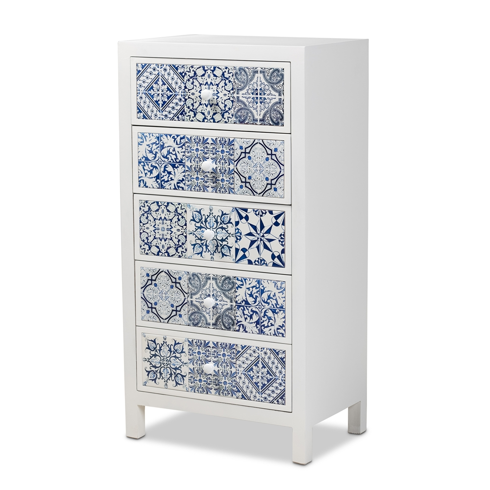 Baxton Studio Alma Spanish Mediterranean Inspired White Wood and Blue Floral Tile Style 5-Drawer Accent Chest