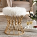 Baxton Studio Leonie Glam and Luxe White Faux Fur Upholstered Gold Finished Metal Ottoman - FJ5A-025-White/Gold-Otto