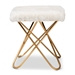 Baxton Studio Valle Glam and Luxe White Faux Fur Upholstered Gold Finished Metal Ottoman - JY19A262-White/Gold-Otto