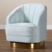 Baxton Studio Fiore Glam and Luxe Light Blue Velvet Fabric Upholstered Brushed Gold Finished Swivel Accent Chair - TSF-6642-Light Blue/Gold-CC
