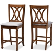 Baxton Studio Reneau Modern and Contemporary Grey Fabric Upholstered Walnut Brown Finished 2-Piece Wood Counter Height Pub Chair Set