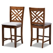 Baxton Studio Caron Modern and Contemporary Grey Fabric Upholstered Walnut Brown Finished 2-Piece Wood Counter Height Pub Chair Set