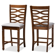 Baxton Studio Lanier Modern and Contemporary Grey Fabric Upholstered Walnut Brown Finished 2-Piece Wood Counter Height Pub Chair Set