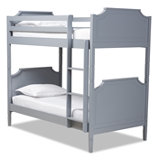 Baxton Studio Mariana Traditional Transitional Grey Finished Wood Twin Size Bunk Bed Baxton Studio restaurant furniture, hotel furniture, commercial furniture, wholesale bedroom furniture, wholesale twin, classic twin