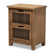 Baxton Studio Clement Rustic Transitional Medium Oak Finished 2-Drawer Wood Spindle Nightstand
