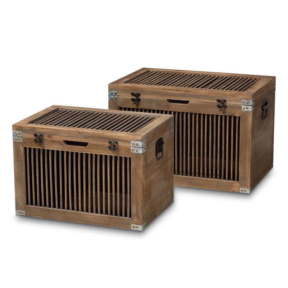 Baxton Studio Clement Rustic Transitional Medium Oak Finished 2-Piece Wood Spindle Storage Trunk Set