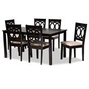 Baxton Studio Lenoir Modern and Contemporary Sand Fabric Upholstered Espresso Brown Finished Wood 7-Piece Dining Set Baxton Studio restaurant furniture, hotel furniture, commercial furniture, wholesale dining furniture, wholesale dining sets, classic dining sets