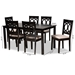 Baxton Studio Lenoir Modern and Contemporary Sand Fabric Upholstered Espresso Brown Finished Wood 7-Piece Dining Set - RH315C-Sand/Dark Brown-7PC Dining Set