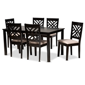 Baxton Studio Caron Modern and Contemporary Sand Fabric Upholstered Espresso Brown Finished Wood 7-Piece Dining Set Baxton Studio restaurant furniture, hotel furniture, commercial furniture, wholesale dining furniture, wholesale dining sets, classic dining sets