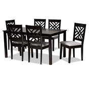 Baxton Studio Caron Modern and Contemporary Grey Fabric Upholstered Espresso Brown Finished Wood 7-Piece Dining Set Baxton Studio restaurant furniture, hotel furniture, commercial furniture, wholesale dining furniture, wholesale dining sets, classic dining sets
