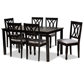 Baxton Studio Reneau Modern and Contemporary Grey Fabric Upholstered Espresso Brown Finished Wood 7-Piece Dining Set