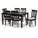 Baxton Studio Reneau Modern and Contemporary Grey Fabric Upholstered Espresso Brown Finished Wood 7-Piece Dining Set - RH316C-Grey/Dark Brown-7PC Dining Set