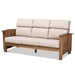 Baxton Studio Charlotte Modern Classic Mission Style Taupe Fabric Upholstered Walnut Brown Finished Wood 3-Seater Sofa