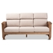 Baxton Studio Charlotte Modern Classic Mission Style Taupe Fabric Upholstered Walnut Brown Finished Wood 3-Seater Sofa - SW3513-Taupe/Walnut-M17-SF