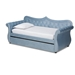 Baxton Studio Abbie Traditional and Transitional Light Blue Velvet Fabric Upholstered and Crystal Tufted Twin Size Daybed with Trundle
