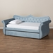 Baxton Studio Abbie Traditional and Transitional Light Blue Velvet Fabric Upholstered and Crystal Tufted Twin Size Daybed with Trundle - Abbie-Light Blue Velvet-Daybed-T/T