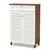 Baxton Studio Coolidge Modern and Contemporary White and Walnut Finished 5-Shelf Wood Shoe Storage Cabinet with Drawer