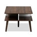 Baxton Studio Merlin Mid-Century Modern Two-Tone Walnut and White Finished 2-Drawer Wood Coffee Table - CT 1780-00-Columbia/White-CT