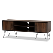 Baxton Studio Corina Mid-Century Modern Two-Tone Walnut and Black Finished Wood TV Stand