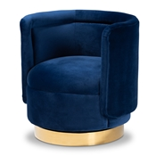 Baxton Studio Saffi Glam and Luxe Royal Blue Velvet Fabric Upholstered Gold Finished Swivel Accent Chair Baxton Studio restaurant furniture, hotel furniture, commercial furniture, wholesale living room furniture, wholesale accent chairs, classic accent chairs